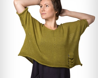 Knitted cotton olive woman top by GalaGolansky