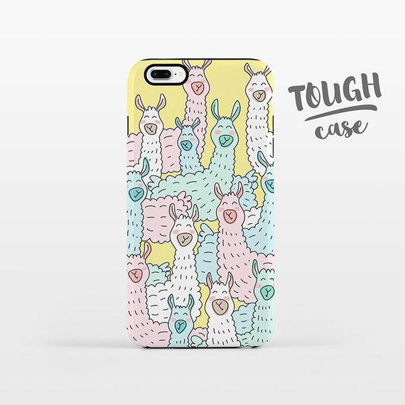 Llama iPhone Case iPhone 8 Plus Case iPhone X Case iPhone 7 Case iPhone 8 Case iPhone 6 Plus Case 6s 5s 5c 5 4 Alpaca Pastel Colorful TOUGH