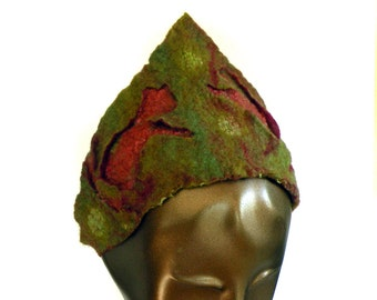 Unique Tiara Cat Crown made of Felted Olive Green and Red Merino Wool - Adjustable Size
