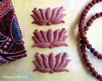 Balinese Lotus Carved Sawo Wood Pendant 48mm, 1pc for Vegan Jewelry