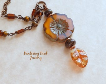Simple Flower and Leaf Necklace, Brown and Orange Lampwork and Glass Beads, Copper Nature Jewelry, Pumpkin Spice Mother's Day Gift