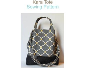 Kara Tote PDF Sewing Pattern.  Instant Download. Travel Bag. Purse. DIY.