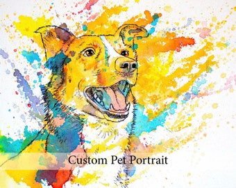 Dog portrait custom dog painting, custom pet painting canvas, personalized dog owner gift, pet gift for owner, dog lover gift