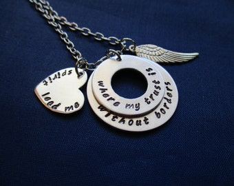 Hillsong Oceans - Spirit Lead Me Where My Trust Is Without Borders Hand Stamped Necklace