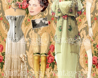 CORA Digital Paper Doll from DOWNTON ABBEY Vintage Edwardian Collage Sheet Digital Download
