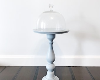 Farmhouse stand, pedestal, glass dome, cloche, distressed, blue, shabby chic, rustic or country decor