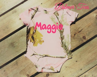 CLOSEOUT! Infant Pink RealTree Camo Bodysuit (Personalized Light Pink Camouflage Onesie Embroidered w. Name or Monogram)
