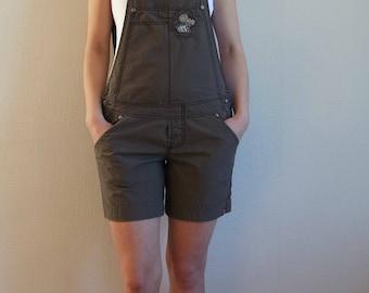 Vintage Women's Shorts Overalls,  Shorts Jumpsuits , Brown Cotton Overalls, Size M