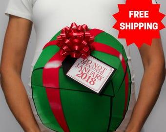 Christmas Gift Box Maternity T-Shirt  / Funny Christmas Shirt / Holiday Maternity Shirt / Christmas Gift / Baby Shower Gift
