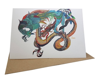 Greeting Card - Imperial Dragon and Phoenix ~ Ink & Acrylic