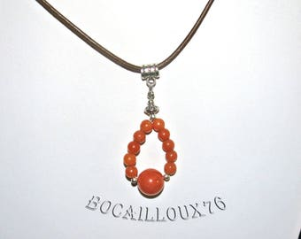 Collier PENDENTIF Perles PIERRE de SOLEIL 2* + Cordon