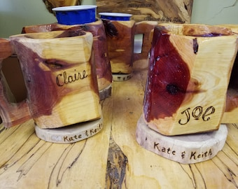Wedding Party set-Chainsaw Carved Mugs (gifts)- Personalized Set of 2