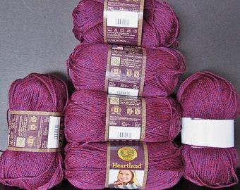 6 Sks Lion Brand Heartland Acrylic Tweed Yarn,Isle Royale Free Ship
