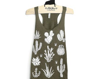 Large- Olive Tri-Blend  Racerback Tank with Cactus Screen Print