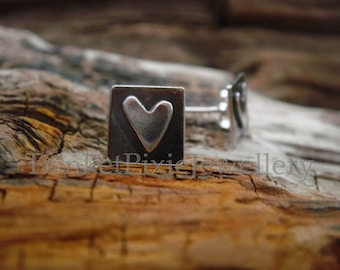 Square with Heart Oxidised Stud Earrings