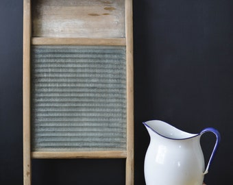 Vintage Wood & Glass Large Washboard | Farmhouse Style