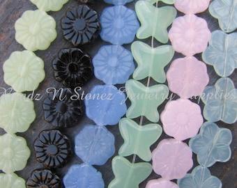 18 Full Strands - Bulk Lot, Assorted Flower & Butterfly Beads - CLEARANCE