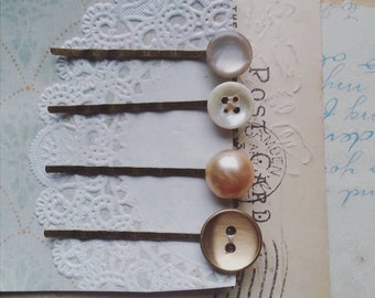 Hair Pin Set Made With Vintage Buttons, Button Bobby Pins in Romantic Pastel Hues, Hair Pins for Women