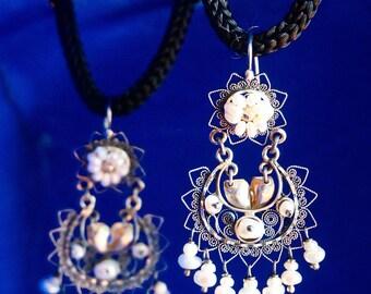 Handmade silver filigree earrings with pearls