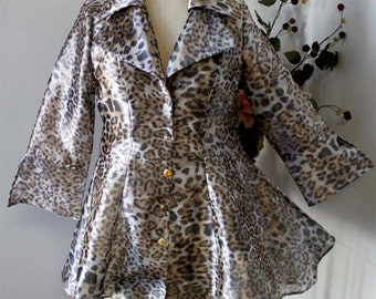 Plus Size Blouse Shirt Jacket in Animal Print Organza M,L,1XL,2XL,3XL. Aristocratic and High End.