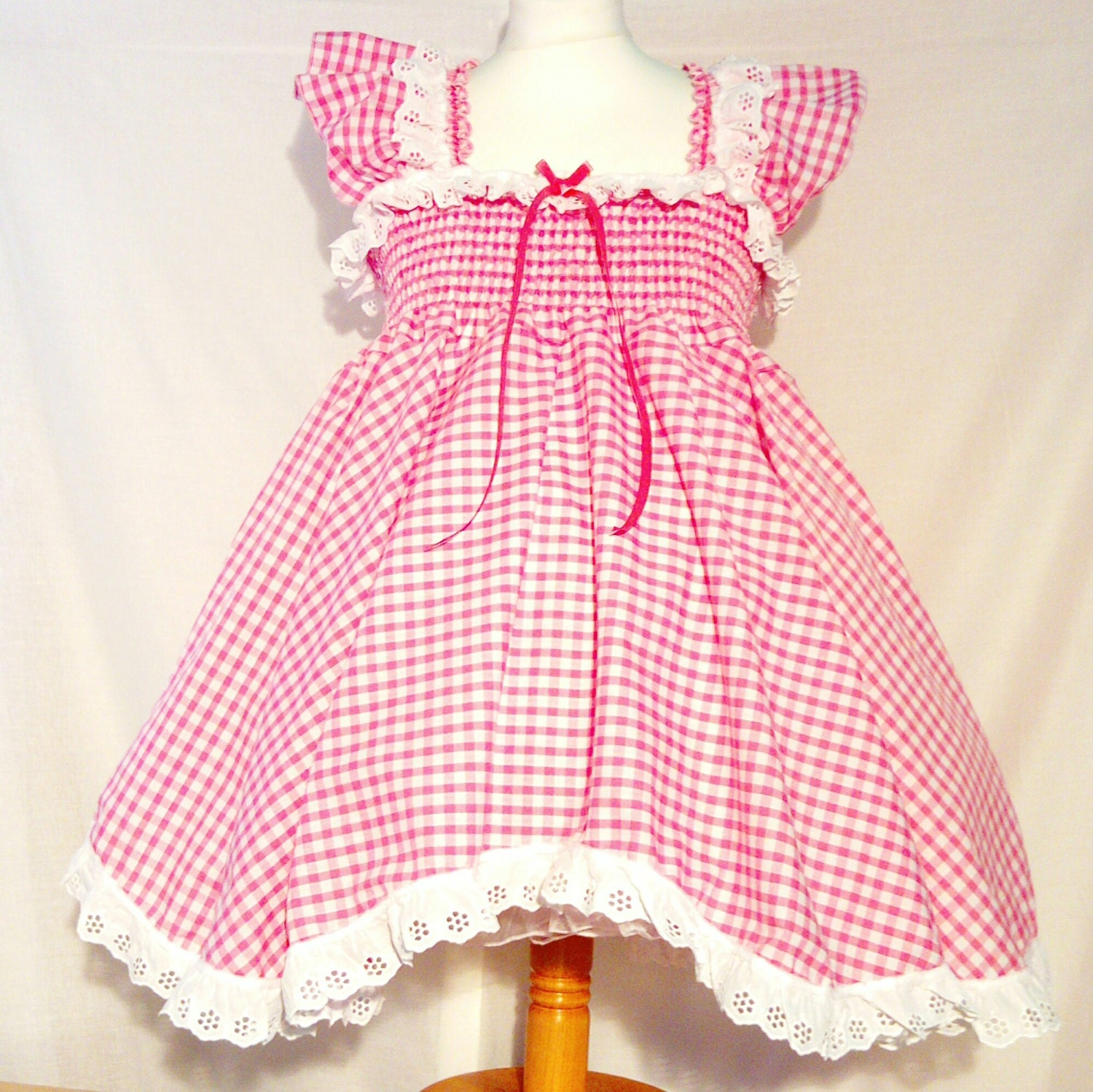 All sizes 40 GBP Adult Baby Sissy Short Dress in Pink Gingham