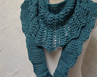 Pattern, Lace Triangle Scarf Hand Knit Triangle Lace Ribbing Long Scarf Pattern named Larkspur