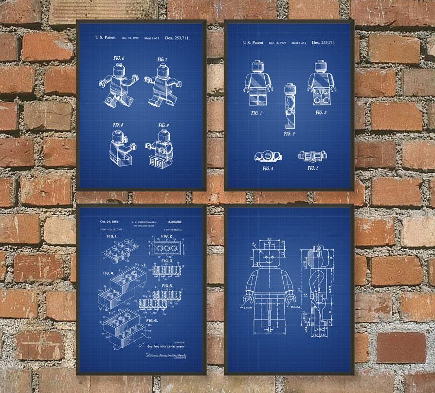 Lego Patent Prints Set Of 4 Lego Design Lego Invention