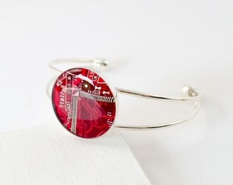 Recycled Circuit Board Bracelet Red, Industrial Bracelet, Circuit Board Jewelry, Electrical Engineer Gift, Wearable Technology, Geekery