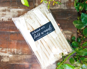 Wedding Rice Toss - Personal Send off Wands - Outdoor Send Off - Reception Exit - Toss Me - Confetti alternative - 25 tubes per pack
