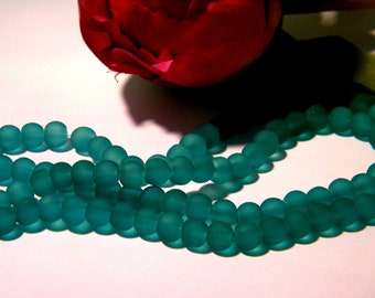 70 beads in frosted glass 6 mm - lightseagreen - bead - 6 mm glass bead - 1 H11