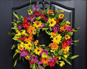 Spring Summer Door Decor, Spring Wreath for Front Door, Spring Flower Wreath, Wreaths for Spring, Spring Door Wreaths, Multi Colored Wreath