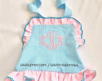 Monogram baby toddler girl swimsuit bathing suit with snaps in crotch one piece