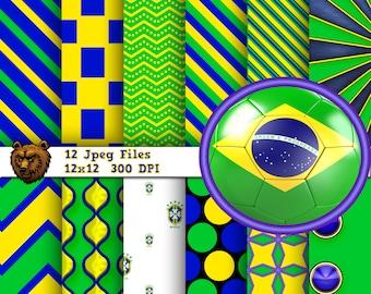 Brazil digital paper, digital scrapbook, digital background