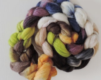 bfl sw nylon,Midsummer Lunch, Sock blend top,handdyed fiber for spinning, ca.3,5oz