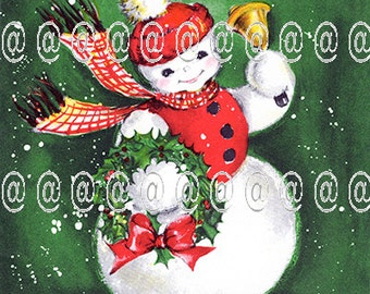Digital download vintage Christmas card, snowman with umbrella and muff