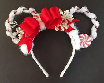 Christmas Holiday Ears, Disney Ears, Mickey Ears, Minnie Ears, Candy Ears, Peppermint Ears, Red and White Ears, Floral Ears, Wire Ears