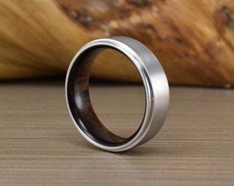 Cobalt and Santos Rosewood Wedding Ring - Mens Wedding Band - Womans Wedding Ring - Mens Wedding Ring - Unique Wedding Band