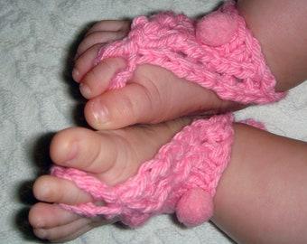 Baby sandals Baby barefoot Pom pom barefoot sandals PDF knitting pattern