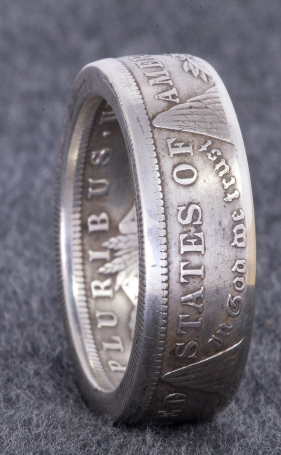 1921 Silver Morgan Dollar Coin Ring Double Sided Sizes 10 22