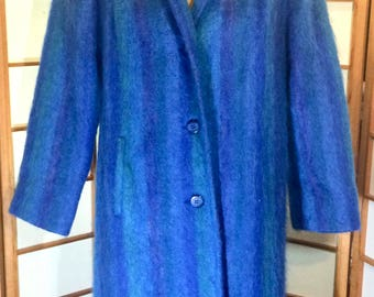 Fuzzy Mohair Wool 70's 80's Royal Blue Purple Coat. M/L