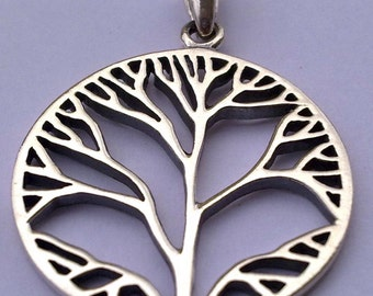 Solid Sterling Silver 925 Tree Of Life Pendant