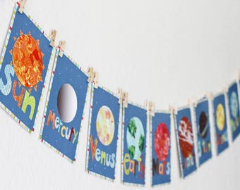 Solar System - Planet Children Wall Cards 5x7, Outer Space wall art, Planet flash cards for kids, Planers decorations, Solar system planets