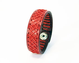 Red Leather Cuff Bracelet! Leather bracelet! Nice gift for women!Nice gift for men!Red wrist cuff!Bracelet wof women!Bracelet for men.
