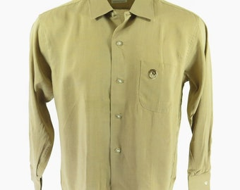 Vintage 50s Rockabilly Casual Shirt Mens L Deadstock Nos Long Sleeves [H84V_0-10]