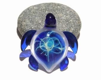 Ultra Small Baby Blue Turtle Pendant - Sea Turtle - Heady Glass - Handmade Blown Glass Jewelry - Turtle Gift  - Borosilicate - Artwork