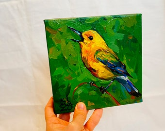 Warbler Yellow Bird. Original Oil painting 6x6 inch on canvas by Kimazo.