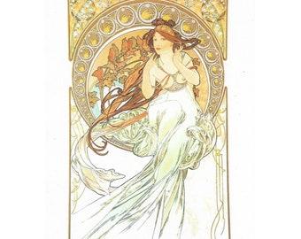 Rice Paper Sheet 16x22 cm Art Nouveau Mucha Music for Decoupage Crafts Washi Paper