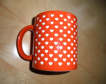 Vintage Waechtersbach Mug Red with TIny White Hearts -  Germany