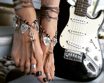 Music Note Guitar Pick Ship Anchor Barefoot Sandals naked shoes foot accessory boho bohemian jewelry hippie anklet