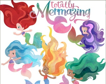 Mermaid Clipart Set -Personal and Limited Commercial Use- watercolor mermaid clipart, print and cut, mermazing water color
